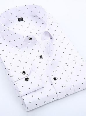 cheap Shirts-Men's Polka Dot Geometric Print Slim Shirt - Cotton Business Basic Daily Work Spread Collar White / Blue / Blushing Pink / Spring / Fall / Long Sleeve