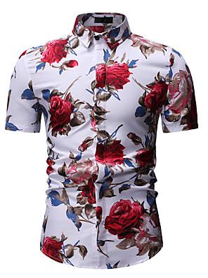 cheap Men's Shirts-Men's Floral Print Shirt Classic Collar White / Black / Short Sleeve