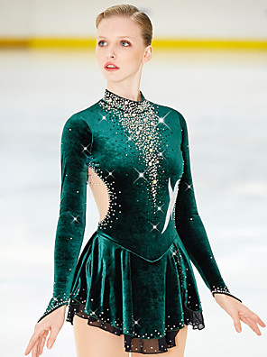 cheap Ice Skating Dresses , Pants & Jackets-21Grams Figure Skating Dress Women's Girls' Ice Skating Dress black green Spandex High Elasticity Competition Skating Wear Warm Handmade Jeweled Rhinestone Long Sleeve Ice Skating Figure Skating