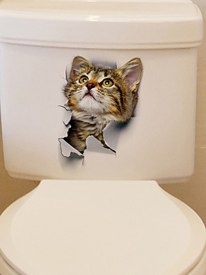 cheap Women's T-shirts-Lovely Cat Toilet Wall Stickers - Words &amp Quotes Wall Stickers Characters Study Room / Office / Dining Room / Kitchen