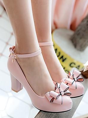 cheap Girls' Dresses-Girls' Tiny Heels for Teens PU Heels Little Kids(4-7ys) / Big Kids(7years +) Black / Pink / Beige Spring &  Fall