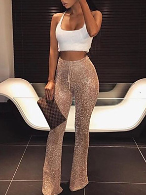 cheap Down to $2.99-Women's Daily Slim Wide Leg Pants Solid Colored Sequins High Waist Black Blushing Pink Gold S M L