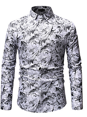 Недорогие Мужские рубашки-Муж. Рубашка Цветочный принт С принтом Длинный рукав Верхушки Классический Уличный стиль Белый Синий Красный