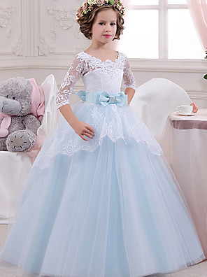 cheap Cocktail Dresses-Princess Floor Length Wedding / Party / Pageant Flower Girl Dresses - Lace / Tulle / Mikado 3/4 Length Sleeve Square Neck with Lace / Bow(s) / Splicing
