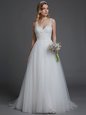 cheap Wedding Dresses-A-Line Wedding Dresses V Neck Court Train Lace Tulle Spaghetti Strap Romantic Boho Backless with Lace 2020