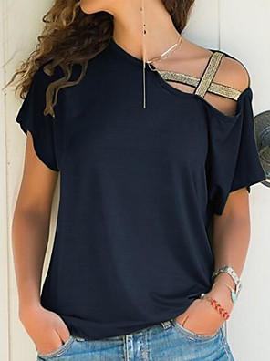 billiga Blus-Dam Dagligen T-shirt Enfärgad Off shoulder Kortärmad Ledig Blast Enaxlad Svart Blå Purpur