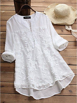 cheap Women's Blouses & Shirts-Women's Blouse Solid Colored Lace Slim Tops White Purple Yellow