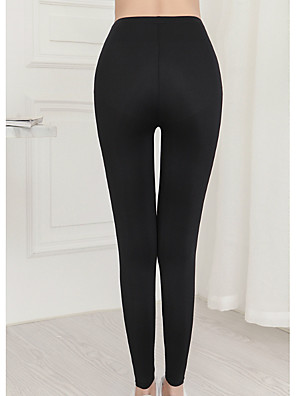 cheap Leggings-Women's Basic Legging - Solid Colored, Print Mid Waist Black L XL XXL