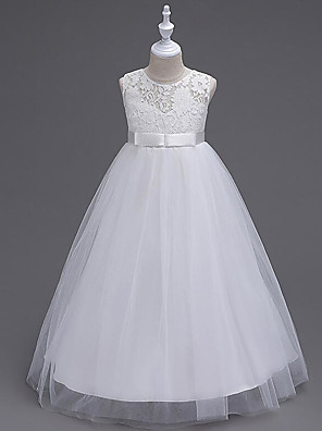 cheap Girls' Dresses-A-Line Floor Length Wedding / First Communion Flower Girl Dresses - Polyester / Polyester / Cotton Sleeveless Jewel Neck with Lace / Embroidery / Butterfly