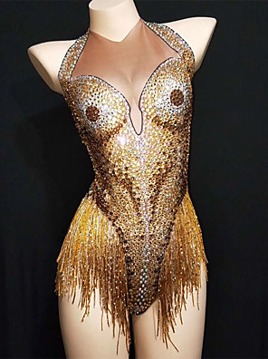 cheap Evening Dresses-Exotic Dancewear Leotard / Onesie Tassel Crystals / Rhinestones Women's Performance Sleeveless Spandex