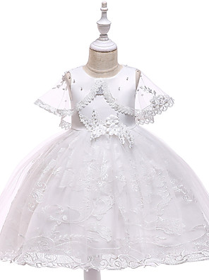 cheap Girls' Dresses-Princess Medium Length Wedding / First Communion Flower Girl Dresses - Lace / Tulle / Mikado Sleeveless Jewel Neck with Pearls / Appliques / Bandage