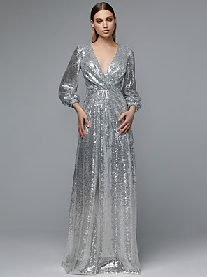 cheap Prom Dresses-A-Line Sparkle Grey Party Wear Formal Evening Dress V Neck Long Sleeve Floor Length Sequined with Pleats Sequin 2020