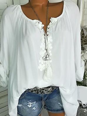 cheap Women's Blouses-Women's Plus Size Geometric Lace Ruffle Blouse Daily U Neck White / Black / Blue / Blushing Pink / Green / Gray