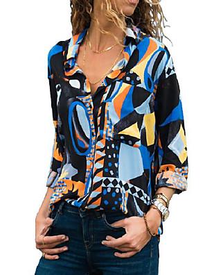 cheap Women's Blouses & Shirts-Women's Blouse Geometric Slim Tops Shirt Collar Blue Green
