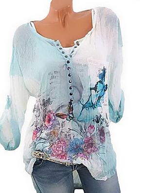 cheap Women's Blouses & Shirts-Women's Plus Size Blouse Floral Print Tops Casual Chinoiserie Blue