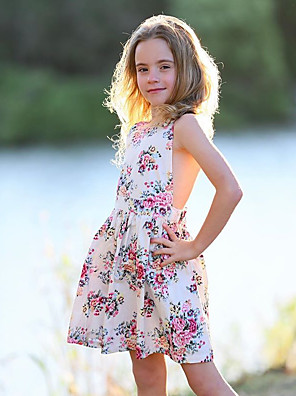 cheap Girls' Dresses-Kids Toddler Girls' Cute Daily Floral Lace Lace up Print Sleeveless Dress White
