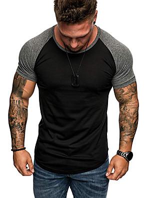 cheap Men's Tees-Men's T shirt Shirt Graphic Color Block Plus Size Tops Round Neck White Red Black
