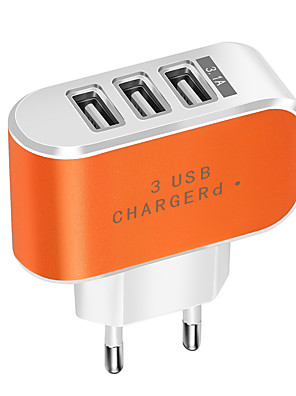 cheap Wall Chargers-Portable Charger USB Charger EU Plug Normal 3 USB Ports 2 A DC 5V for