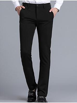 povoljno Muške košulje-Muškarci Osnovni Dnevno Odijelo Hlače Jednobojni Crn Navy Plava M L XL