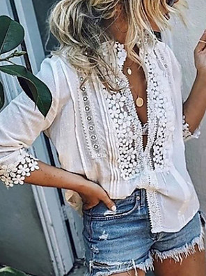 cheap Women's Blouses & Shirts-Women's Shirt Solid Colored Lace Long Sleeve Tops Lace Deep V White Blue Blushing Pink / Holiday