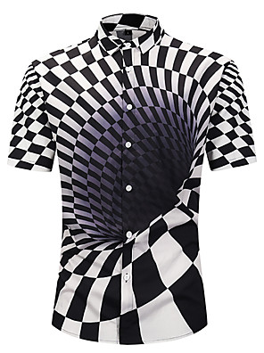 cheap Shirts-Men's Geometric 3D Print Shirt Black / Yellow / Fuchsia / Orange / Light Blue
