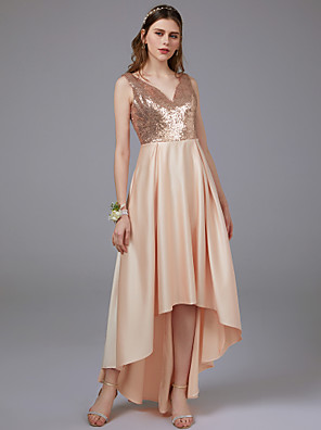 cheap Special Occasion Dresses-A-Line V Neck Floor Length Satin Bridesmaid Dress with Pattern / Print