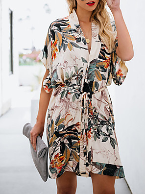 cheap Special Occasion Dresses-A-Line Elegant Cute Cocktail Party Dress V Neck Short Sleeve Short / Mini Chiffon with Pattern / Print 2020