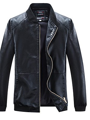 cheap Men's Jackets & Coats-Men's Daily Basic Fall Plus Size Regular Leather Jacket, Solid Colored Stand Long Sleeve PU Black / Wine / Blue