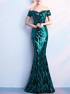 cheap Evening Dresses-Mermaid / Trumpet Sparkle Turquoise / Teal Prom Formal Evening Dress Off Shoulder Short Sleeve Floor Length Sequined with Sequin 2020