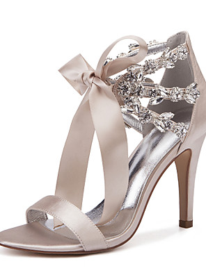 cheap Evening Dresses-Women's Wedding Shoes Lace up Stiletto Heel Round Toe Rhinestone / Bowknot / Satin Flower Satin Sweet / British Spring / Spring & Summer Purple / Yellow / Red / Party & Evening