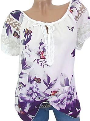 povoljno Bluza-Žene Cvjetni print Geometrijski oblici Majica s rukavima Dnevno Crn / Plava / purpurna boja / Red