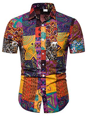 cheap Shirts-Men's Shirt Tribal Print Short Sleeve Tops Business Streetwear Black Blue Red