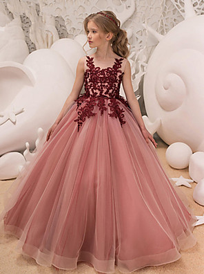cheap Junior Bridesmaid Dresses-Kids Girls' Active Sweet Party Holiday Dusty Rose Solid Colored Sleeveless Maxi Dress Wine