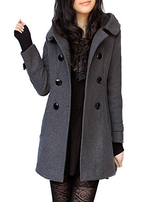 cheap Evening Dresses-Women's V Neck Fall Trench Coat Long Solid Colored Daily Wool Black Gray S M L / Winter / Batwing Sleeve