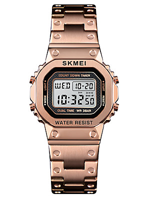 cheap Women's Digital Watches-SKMEI Women's Sport Watch Wrist Watch Square Watch Digital Casual Alarm Digital Rose Gold Black Blue / One Year / Stainless Steel / Calendar / date / day / Chronograph / Dual Time Zones