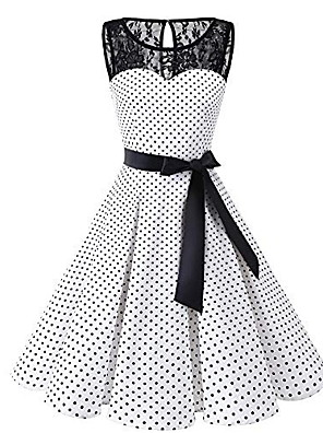 cheap Special Occasion Dresses-Women's Plus Size A-Line Dress Knee Length Dress - Sleeveless Polka Dot Lace 1950s Daily White Black S M L XL XXL XXXL XXXXL XXXXXL / Sexy