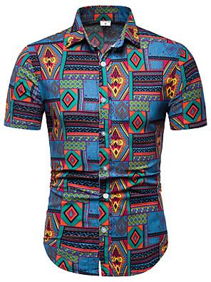 cheap Shirts-Men's Shirt Print Short Sleeve Tops Business Streetwear Rainbow