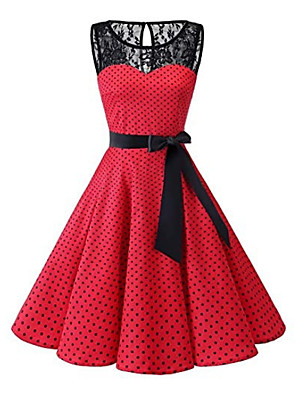 cheap Women's Dresses-Women's Plus Size A Line Dress - Sleeveless Polka Dot Lace 1950s Daily White Black Red S M L XL XXL XXXL XXXXL XXXXXL / Sexy