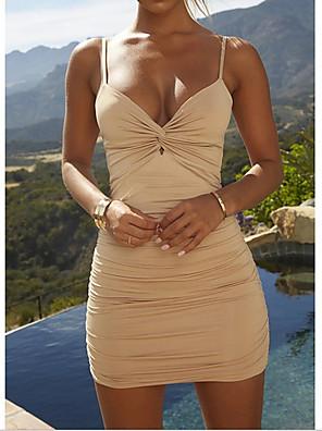 cheap Mini Dresses-Women's Bodycon Dress - Sleeveless Solid Colored Deep V Daily High Waist Black Blue Red Yellow S M L XL XXL XXXL XXXXL XXXXXL / Sexy