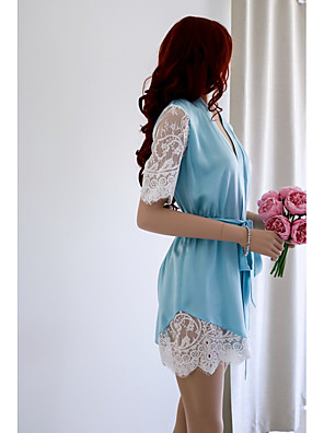 cheap Suits-Women's Lace Cut Out Mesh Suits Nightwear Jacquard Solid Colored Blue / Blushing Pink S M L