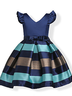 cheap Girls' Dresses-Kids Toddler Girls' Bow Sweet Party Holiday Blue Striped Solid Colored Short Sleeve Dress Wine / Cotton