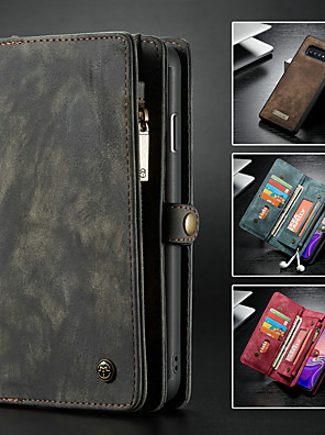 cheap vivoCase-Caseme Case For Samsung Galaxy Galaxy S10 Wallet / Card Holder / with Stand Full Body Cases Solid Colored Hard PU Leather