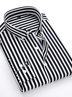 cheap Evening Dresses-Men's Striped Shirt Daily Classic Collar White / Black / Blue / Red / Navy Blue / Light Blue / Long Sleeve