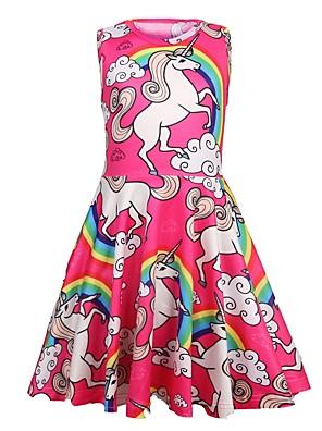 baratos Vestidos De Unicórnio-Infantil Para Meninas Doce Para Noite Unicorn Desenho Animado Sem Manga Altura dos Joelhos Vestido Vermelho
