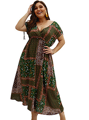 cheap Plus Size Dresses-Women's Chiffon Dress - Short Sleeve V Neck Daily Loose Wine Army Green Royal Blue XL XXL XXXL XXXXL / Sexy