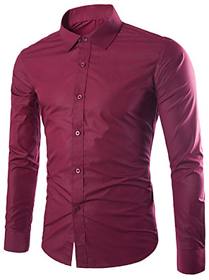 cheap Men's Shirts-Men's Daily Shirt Solid Colored Long Sleeve Slim Tops Business Basic Classic Collar White Black Purple / Fall / Work