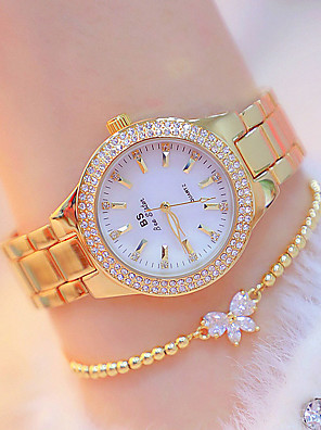 cheap Quartz Watches-Women's Wrist Watch Diamond Watch Gold Watch Quartz Casual Luminous Stainless Steel Silver / Gold Analog - Golden+Silver Gold Silver Two Years Battery Life / Japanese / Imitation Diamond / Japanese