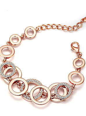 cheap Quartz Watches-Women's Cubic Zirconia Chain Bracelet Two tone Balance Handcuffs Simple Elegant Vintage Gold Plated Bracelet Jewelry Gold For Party Ceremony