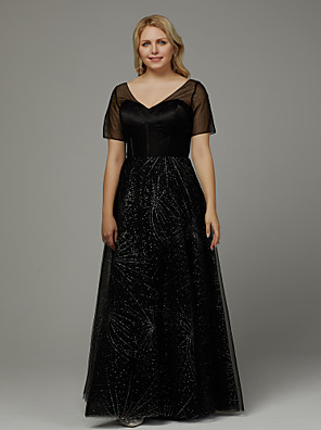 3e441233bcda ADOR Prom Dresses Plus Size A-Line V Neck Floor Length Tulle with Crystals