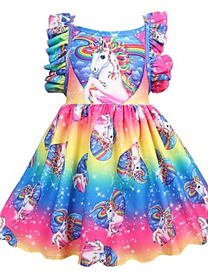 cheap Girls' Dresses-Kids Girls' Active Holiday Unicorn Patchwork Pleated Sleeveless Knee-length Dress Rainbow
